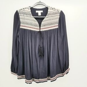 H&M Western Style Embroidered Top